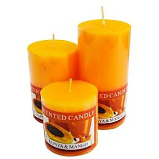 Scented Papaya & Mango Pillar Candle 3 Set