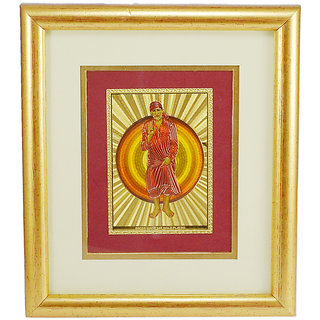 Saamarth Impex Sai Baba Golden Foil Photo Frame / Wall Hangings SI-3447