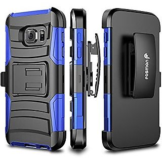 Galaxy S7 Case, Fosmon STURDY Heavy Duty Rugged Stand Case with Belt Clip Holster Shell Cover for Samsung Galaxy S7 (Dark Blue)