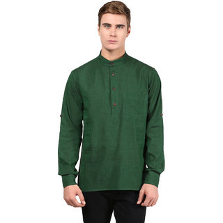 Abhiyuthan Plain Dark Green Casual Short Kurta for Men