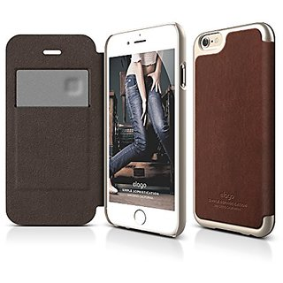 Elago S6 Leather Flip Card Case for the iPhone 6 4.7inch - Brown / Champagne Gold