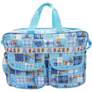 Wonderkids Blue Happy Bear Print Baby Diaper Bag