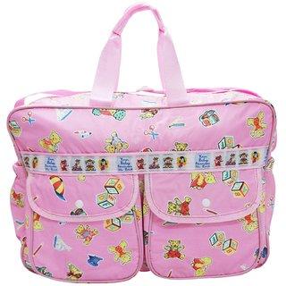 Wonderkids Pink Alphabets Print Baby Diaper Bag