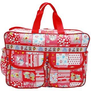 Wonderkids Red Multi Print Baby Diaper Bag