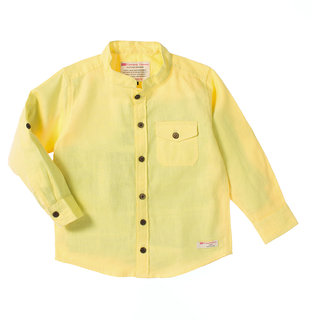 Light Yellow Linen F/S Shirts With Mao Collar And Coconut Buttons