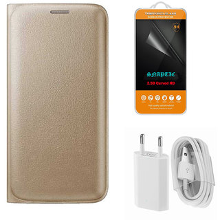 Snaptic Golden Leather Flip Cover for Lenovo ZUK Z2 Plus with 2.5D HD Tempered Glass and USB Travel Charger