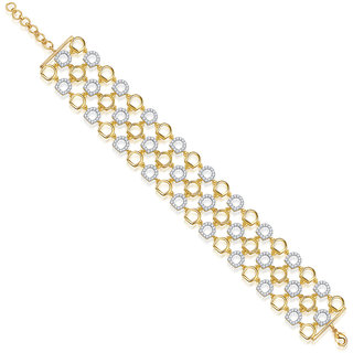 VK Jewels Three Lines Bracelet Gold and Rhodium Plated -  BR1008G VKBR1008G