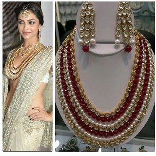 6adb9cfb1bc68 Red Pearls Kundan Choker Necklace Earrings Set For Women