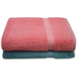 Divine Overseas Premium 2 Pieces Soft  100 Pure Cotton Beach/Bath Sheet Towels Set - Coral   Duck Egg (ASDA BATTER )