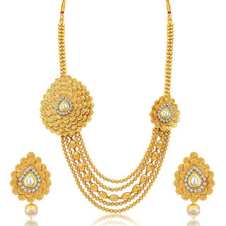 Sukkhi Exquitely Jalebi 5 String Gold Plated AD Necklace Set For Women