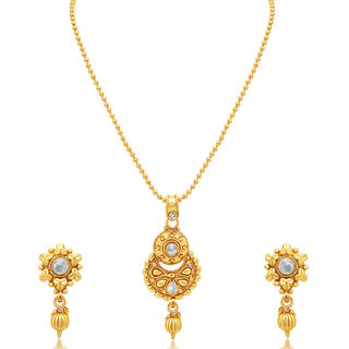 Sukkhi Astonish Gold Plated AD Pendant set For Women