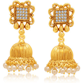 Sukkhi Glittery Gold Plated AD Earring For Women