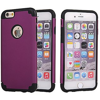 Iphone 6S Case Sophia Shop Slim Hybrid Dual Layer Case Hard Pc Soft Silicone Combo High Impact Defender Shockproof Cover For Apple Iphone 6 6S Inch Purpleblack
