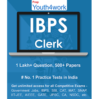 IBPS Clerk Best Online Practice Tests Prep - Unlimited Access - 500+ topic wise tests for All  Competitive Exams