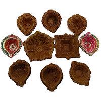 HelloPunditji Mitti Diya For Diwali Puja Pack Of 10 Pc