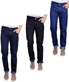 Masterly Weft Men's Pack Of 3 Regular Fit Multicolor Jeans