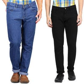 Masterly Weft Men's Pack Of 2 Regular Fit Multicolor Jeans