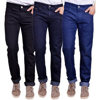 Masterly Weft Men's Pack Of 3 Regular Fit Multicolor Jeans
