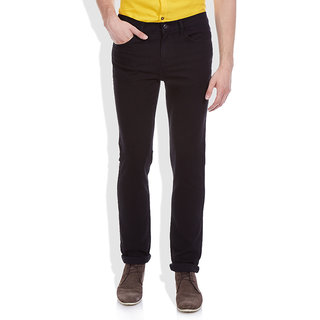 Masterly Weft Black Regular Fit Jeans for Men