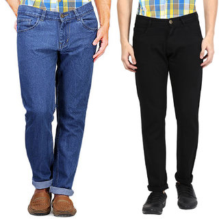 Masterly Weft Men's Pack Of 2 Regular Fit Multicolor Jeans