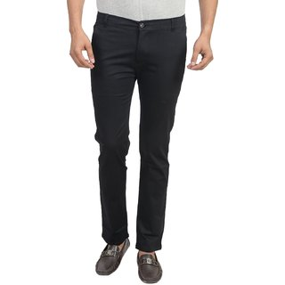 Masterly Weft Black Regular Fit Chinos for Men