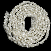 Magideal 1Yard Handmade Pearl Beaded Sewing Trim Chain Dress Decor Craft White