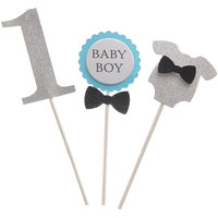 Magideal BABY BOY 1st Birthday Clothes Celebrating Party Cake Topper Cake Decor Blue