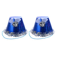 Magideal 6pcs Shiny Feather Flower Birthday Hat Christmas Party Magic Cap Blue