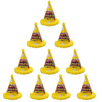 Magideal 10pcs Polka Dot Happy Birthday Cone Hat Kids Children Celebration Cap Yellow