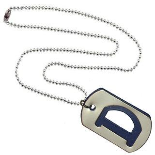 Men Style Alphabet D  Letter Blue Stainless Steel square Pendent  For Men And Boys