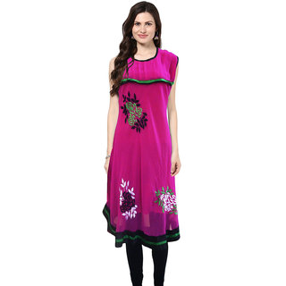Pink Chiffon Kurti With Floral Embroidery