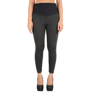 Timbre Women Charcoal Grey Slimming Pants With Compression Mesh Fabric Band