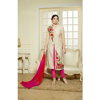 Thankar Cream   Multi Embroidered Chanderi Cotton Straight Suit