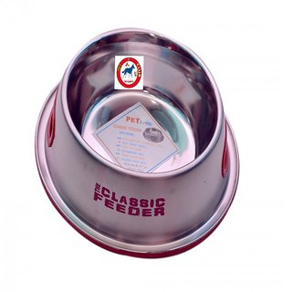 PET CLUB51 STANDARD DOG FOOD BOWL CLASSIC FEEDER RED  -EXTRA SMALL