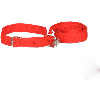 PET CLUB51 STANDARD DOG COLLAR AND LEASH- LARGE-RED
