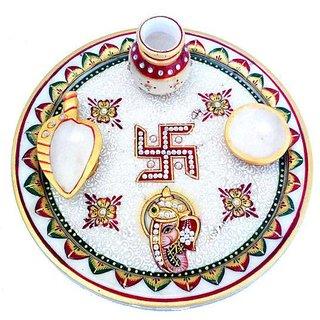 Marble pooja thali- Gold Embossed Aarti Pooja Thali Set Sindur Dani, Diya,