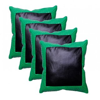 Zakina Set Of 4 P.U  Leather  Green Cushion Cover ( ZE6058 )