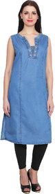 NumBrave Sleevless Light Blue Denim Kurti For Women