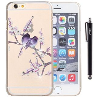 iPhone 6 Plus Case, iPhone 6S Plus Case, iYCK Crystal Diamond Rhinestone Hard Plastic Rubber Snap On Shell Back Skin Case Cover for Apple iPhone 6 / 6S Plus (5.5) - Purple Love Birds Floral