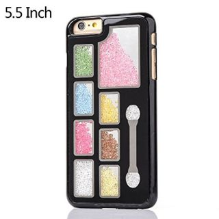 6 Plus / 6s Plus 3D Handmade Bling Crytal Case, Colorful Shiny Glitter Sparkly Moving Diamond Rhinestone Cover Durable Plastic Skin Fit Apple iPhone 5.5 Smartphone - Black Eyeshadow Cosmetic Box