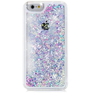 iPhone 6S Case, Liquid Case for iPhone 6S,Flowing Liquid Floating Luxury Bling Glitter Sparkle Love Heart Hard Case for Apple iPhone 6S (2015) & iPhone 6 (2014)(Love:Blue+Pink)