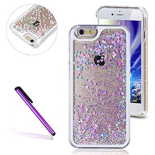 iPhone 5S Case, iPhone 5 Case,EMAXELER Fluorescent Heart Series 3D Glitter Liquid Floating Change Color Sequins Bling Moving Hard Protective Case for iPhone 5/ 5S + Send 1Pcs Stylus Pen--Blue&Pink