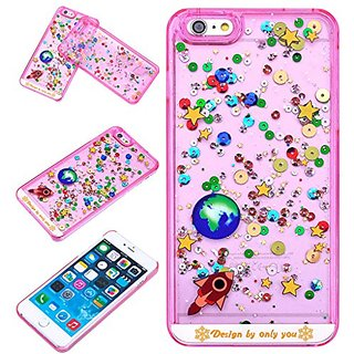 Yoption Liquid Case Starry Sky Transparent Plastic 3D Glitter Creative Design Flowing Floating Glitter Sparkle Universe of Stars Hard Case Cover for iPhone 6 Plus 6s Plus 5.5(Pink)