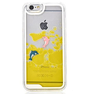 iPhone 5 Case,iPhone 5S Case,Goton Fashion Creative Design Flowing Liquid Floating Bling Glitter Sparkle Dplphin Cover Case For iPhone 5/5s - (Yellow)