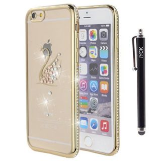 iPhone 6S Plus Case, iYCK Electroplated Crystal Clear Soft Flexible TPU Gel [Studded Full Frame and Back] Diamond Bling Rhinestone Protective Back Case Cover for iPhone 6/6S Plus 5.5 inch - Gold Swan