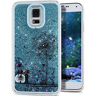 Galaxy S5 Case, ikasus(TM) Galaxy S5 [Liquid Bling] Case, Creative Design [Flowing Liquid] Floating Luxury Bling Glitter Sparkle Stars Hard Case for Samsung Galaxy S5 SV I9600,Blue Dandelion Lovers