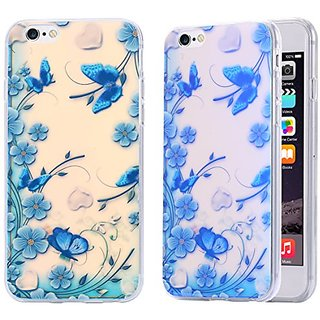 iPhone 6S Plus Case / iPhone 6 Plus Case, Arkko [Blue Ray Glitter] Butterfly Flower Slim Case Perfect Fit Soft TPU [Scratch Resistant] Flexible Durable Light for iPhone 6S/6 Plus (5.5 inch) 13p6033