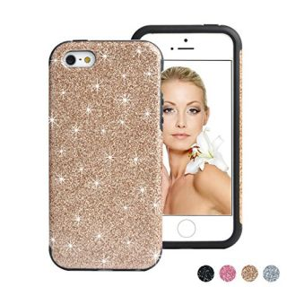 iPhone SE Case, iPhone 5S Case, HESPLUS Shiny Sparkle Glitter Bling [Anti-Shock] [Scratch Resistant] Soft Gel Flexible Rubber TPU Case for Apple iPhone SE / iPhone 5S / iPhone 5 - RoseGold