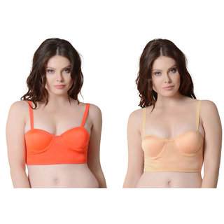 Bahucharaji Creation  Orange & Beige Colour Back Six Straps Cotton With Padded  Push-up Women's  Bra (Pack of 2)