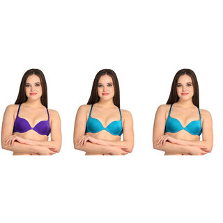 Bahucharaji Creation Purple & Blue Everyday Multipurpose Front Closure & Front Open Pushup Bra(Size : 32)(Pack of 3)